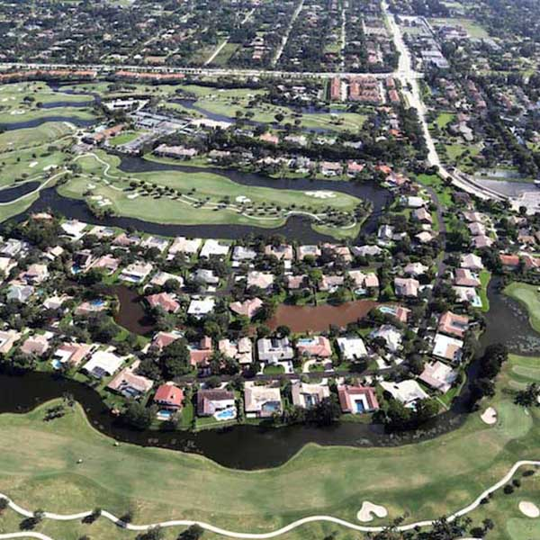 Aerial View of Lago Mar Golf- Community Paving Project in Plantation-FL