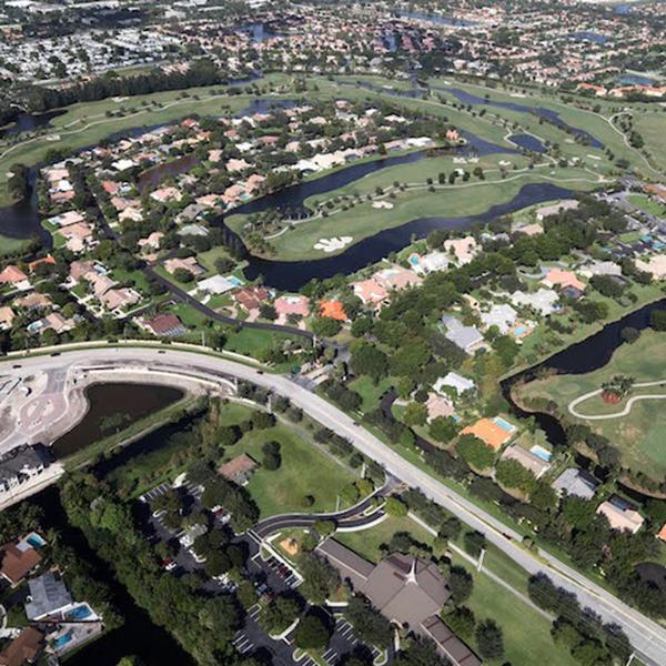 Aerial Shot Of A Golf Community Paving Project Plantation FL