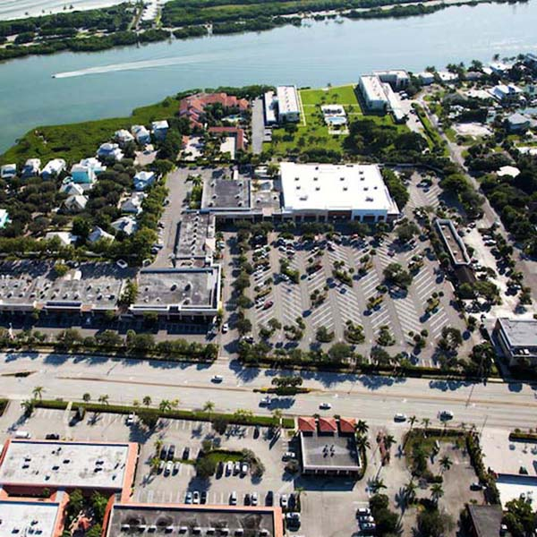 Tequesta Shoppes aerial view of Paving project Tequesta FL